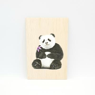 Houten fotokaart Panda-bloem
