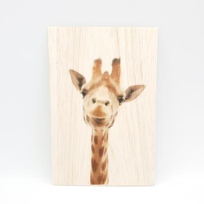 Houten fotokaart Giraffe
